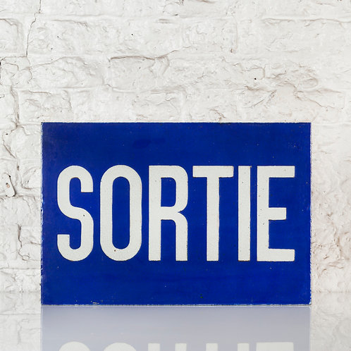 UNUSUAL, DOUBLE SIDED, CERAMIC SORTIE (EXIT) SIGN