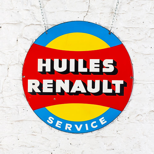 VIBRANT, DOUBLE-SIDED HUILES (MOTOR OILS) RENAULT ENAMEL SIGN