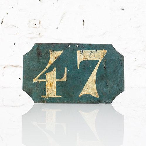 #47 - ANTIQUE, FRENCH, HAND PAINTED BIN LABEL / DOOR NUMBER