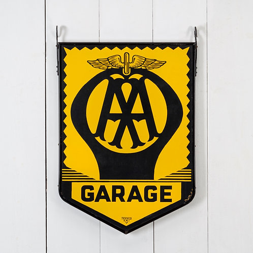 DOUBLE-SIDED HANGING AA GARAGE ENAMEL SIGN