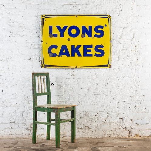 A LARGE, VIBRANT LYONS' CAKES ENAMEL SIGN