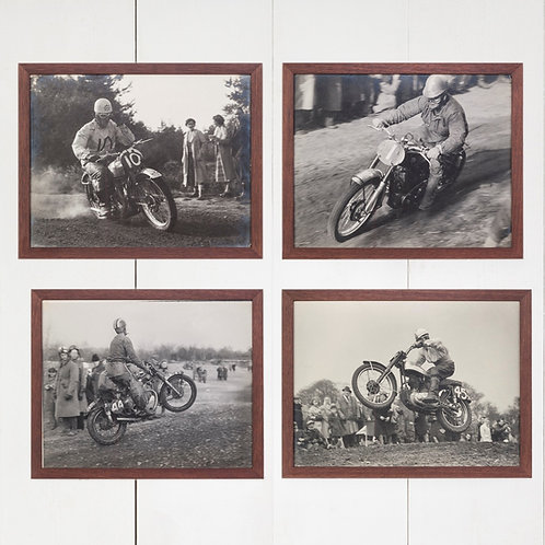 SET OF FOUR EARLY MOTORCYCLE RACING PHOTOGRAPHS