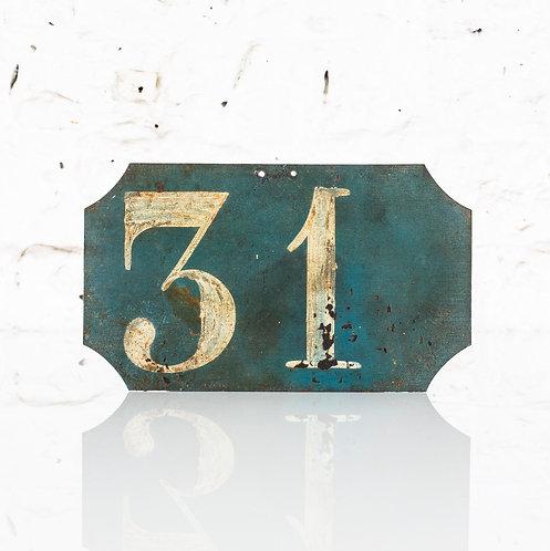 #31 - ANTIQUE, FRENCH, HAND PAINTED BIN LABEL / DOOR NUMBER