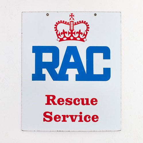 DOUBLE-SIDED RAC RESCUE SERVICE ENAMEL SIGN