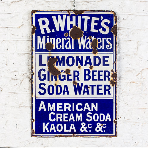 EARLY R WHITE'S MINERAL WATERS ENAMEL SIGN