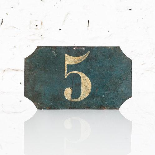 #5 - ANTIQUE, FRENCH, HAND PAINTED BIN LABEL / DOOR NUMBER