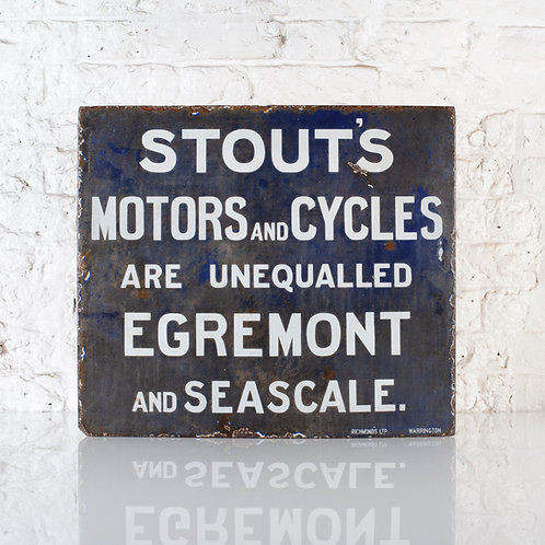 EARLY STOUT'S MOTORS & CYCLES ENAMEL SIGN