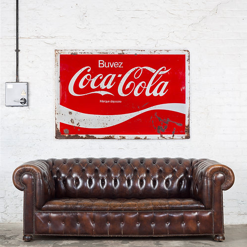 A LARGE, VINTAGE FRENCH/BELGIAN COCA-COLA TIN SIGN