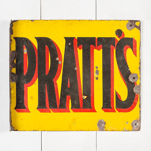 EARLY PRATT'S ENAMEL FLANGE SIGN