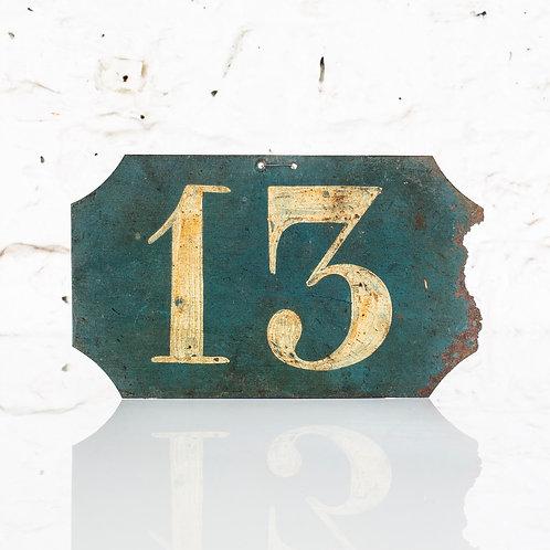 #13 - ANTIQUE, FRENCH, HAND PAINTED BIN LABEL / DOOR NUMBER