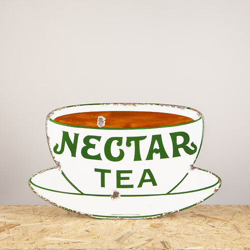 ICONIC, EARLY NECTAR TEA SHAPED ENAMEL SIGN