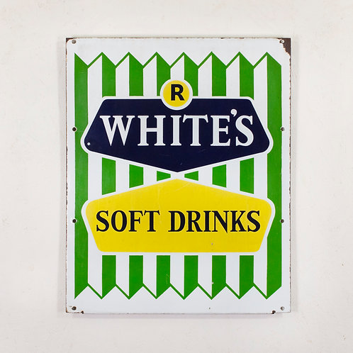 R WHITE'S SOFT DRINKS ENAMEL SIGN