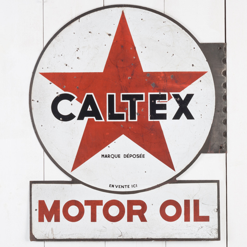 DOUBLE-SIDED CALTEX ENAMEL SIGN