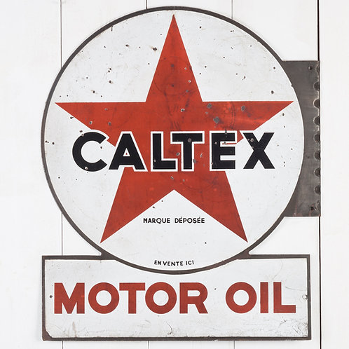 RARE, EARLY, DOUBLE-SIDED CALTEX MOTOR OIL ENAMEL SIGN