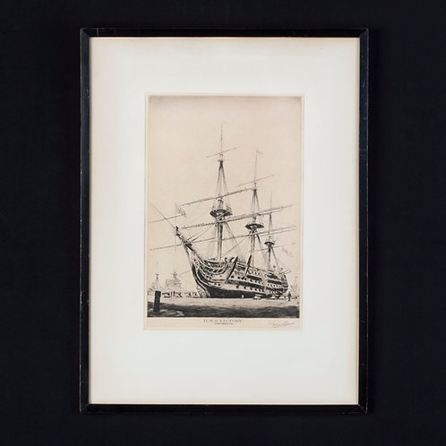 FRAMED DRY POINT ETCHING OF THE HMS VICTORY