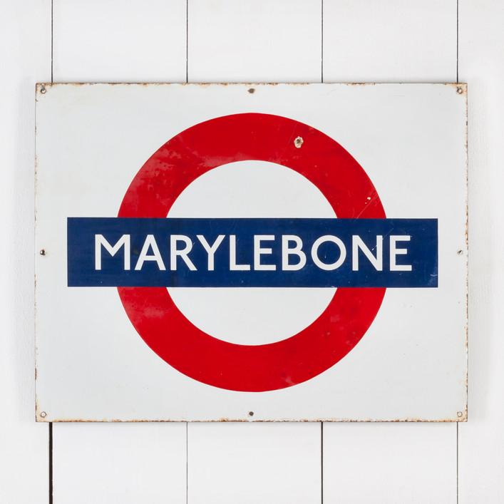 MARYLEBONE TUBE STATION ENAMEL SIGN
