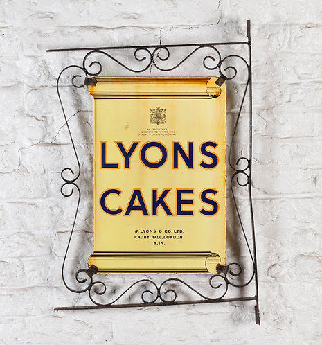 LYONS CAKES DOUBLE-SIDED ENAMEL SIGN W. FRAMEWORK