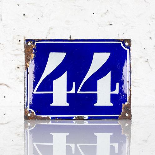 #44 - FRENCH, CONVEX ENAMEL DOOR NUMBER PLAQUE / SIGN