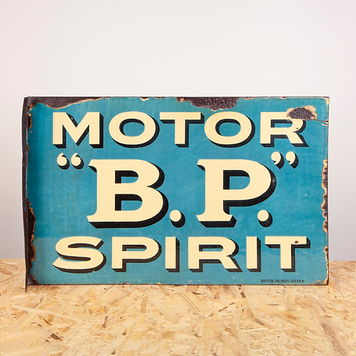 RARE, EARLY BP MOTOR SPIRIT ENAMEL FLANGE SIGN