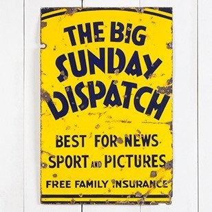 THE BIG SUNDAY DISPATCH, ENAMEL SIGN.