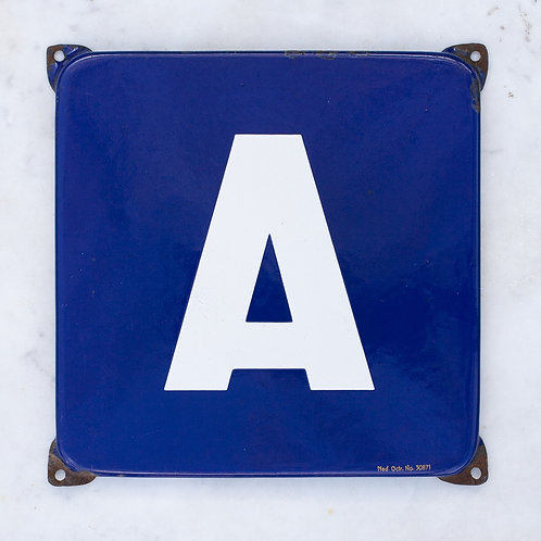 LOVELY VINTAGE, BLUE + WHITE LETTER A ENAMEL SIGN