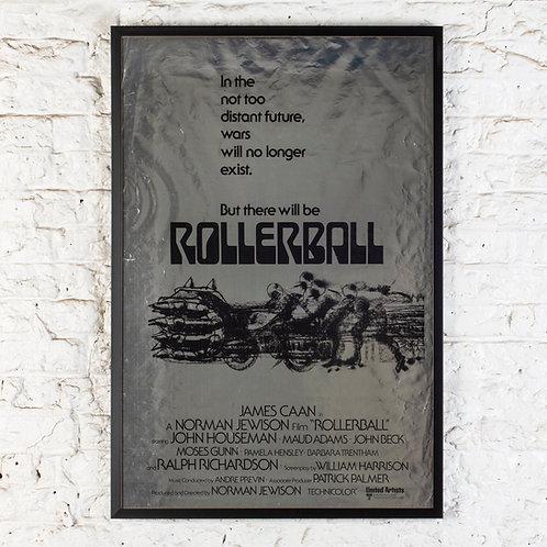 ROLLERBALL - ORIGINAL, RARE FOILED FILM POSTER