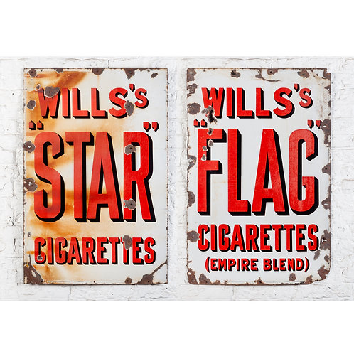 A PAIR OF LARGE WILLS'S CIGARETTES ENAMEL SIGNS