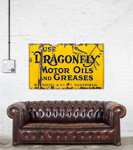 A 'DRAGONFLY - MOTOR OILS AND GREASES' ENAMEL SIGN
