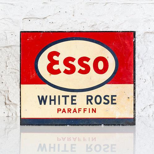 ESSO WHITE ROSE PARAFFIN - TIN FLANGE SIGN