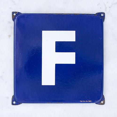 LOVELY VINTAGE, BLUE + WHITE LETTER F ENAMEL SIGN