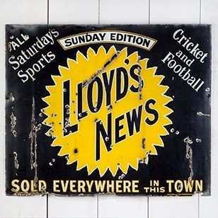 LLOYD'S NEWS ENAMEL SIGN