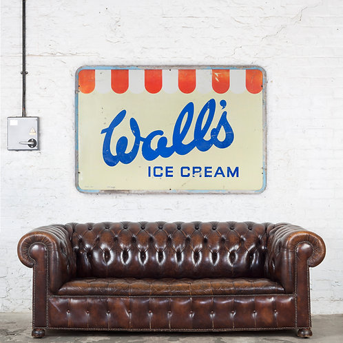 LARGE, VINTAGE WALL'S ICE CREAM TIN SIGN