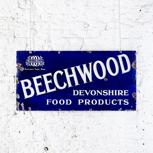 STUNNING, BEECHWOOD - DEVONSHIRE FOOD PRODUCTS, ENAMEL SIGN