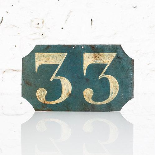 #33 - ANTIQUE, FRENCH, HAND PAINTED BIN LABEL / DOOR NUMBER