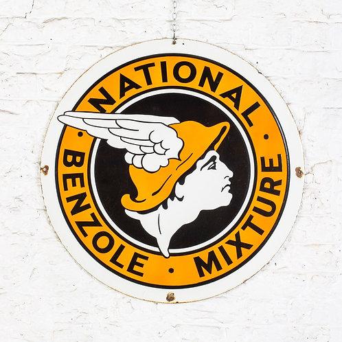 FANTASTIC, DOUBLE-SIDED NATIONAL BENZOLE ENAMEL SIGN