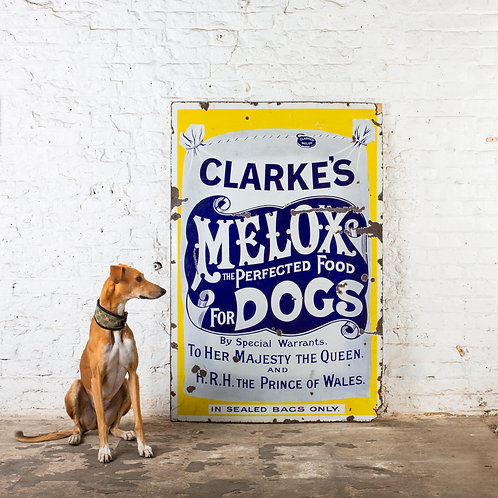 CLARKE'S MELOX DOG FOOD - VICTORIAN ENAMEL SIGN