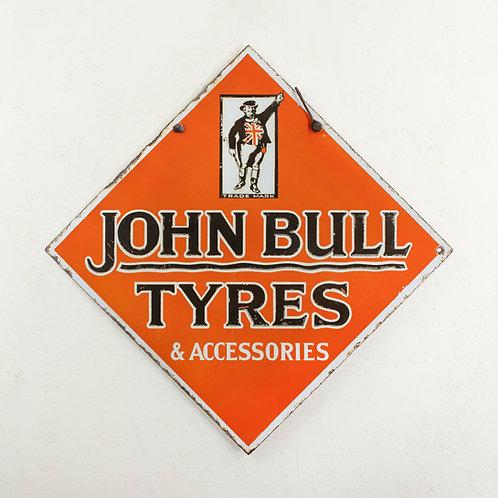 DOUBLE-SIDED JOHN BULL TYRES ENAMEL SIGN
