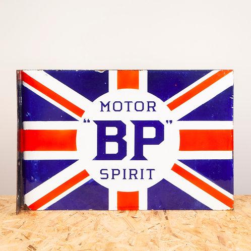 BP MOTOR SPIRIT UNION JACK ENAMEL FLANGE SIGN