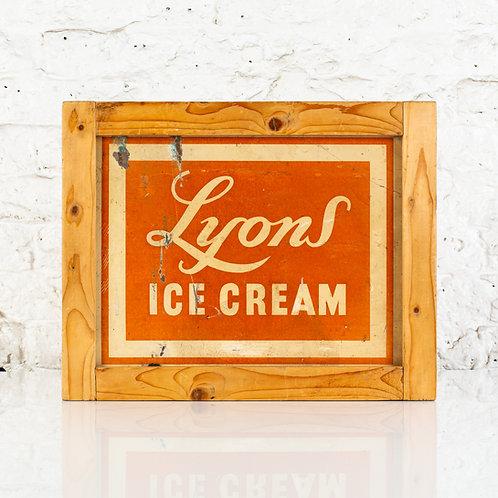 FRAMED LYONS ICE CREAM CARDBOARD ADVERTISING SIGN