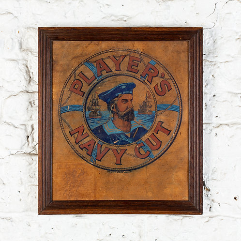 FRAMED PLAYER'S NAVY CUT CIGARETTES PICTORIAL BOX LID