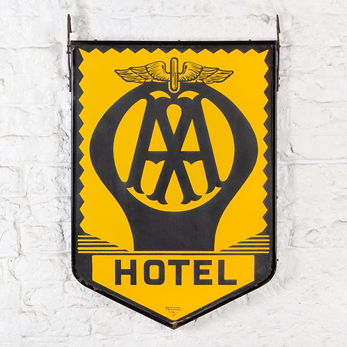 DOUBLE-SIDED HANGING AA HOTEL ENAMEL SIGN