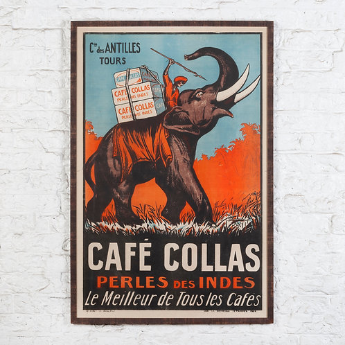 VIBRANT VINTAGE FRENCH COFFEE POSTER - CAFÉ COLLAS