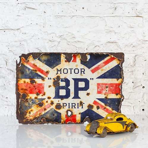 WONDERFULLY WORN BP MOTOR SPIRIT UNION JACK ENAMEL SIGN