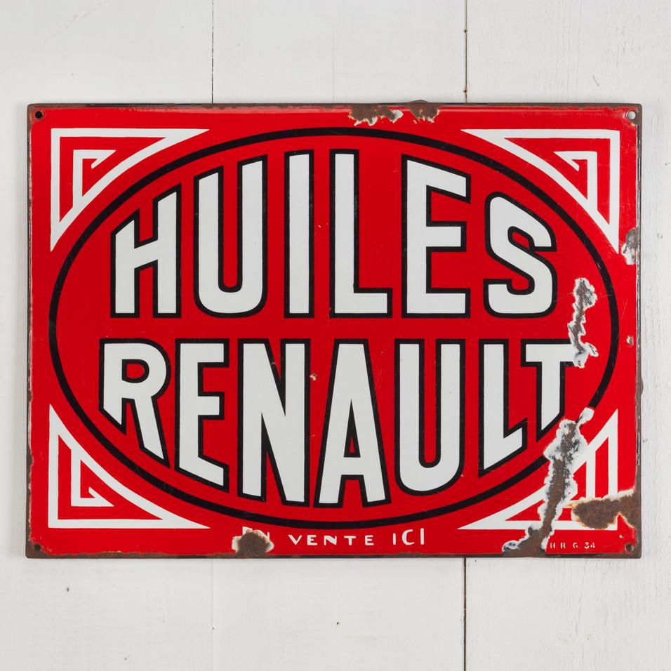 RENAULT OILS ENAMEL SIGN