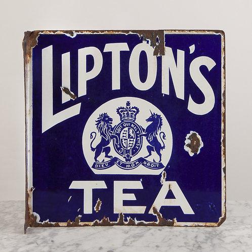 CHARMING, LIPTON'S TEA DOUBLE-SIDED ENAMEL SIGN