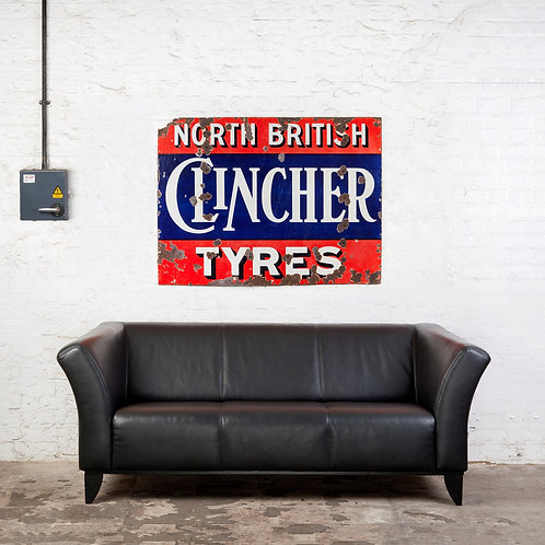 LARGE NORTH BRITISH CLINCHER TYRES ENAMEL SIGN
