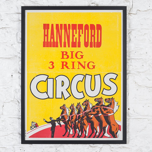 LARGE, FRAMED VINTAGE AMERICAN CIRCUS POSTER
