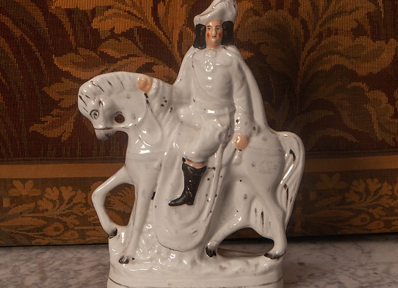 A Victorian Staffordshire Flatback Figure of a Man on a Horse