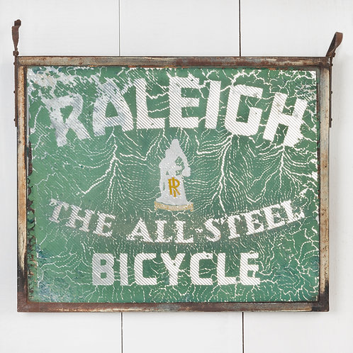DOUBLE-SIDED, HANGING, GLASS RALEIGH BICYCLES SIGN