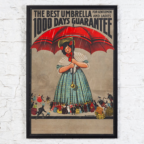 CHARMING EARLY 20TH C. UMBRELLA ADVERTISING POSTER